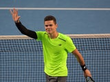 Canada's Milos Raonic celebrates after victory in his men's singles match against Spain's Feliciano Lopez on day eight of the 2015 Australian Open tennis tournament in Melbourne on January 26, 2015