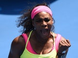 Serena Williams of the US celebrates winning her women's singles match against Slovakia's Dominika Cibulkova on day 10 of the 2015 Australian Open tennis tournament in Melbourne on January 28, 2015