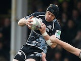 Tom Ryder of Glasgow Warriors beats Devin Toner of Leinster to the ball during the Heineken Cup match between Glasgow Warriors and Leinster at Firhill Stadium on January 15, 2012