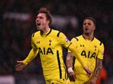 Christian Eriksen of Tottenham Hotspur celebrates scoring from a free kick during the Capital One Cup Semi-Final Second Leg match between Sheffield United and Tottenham Hotspur at Bramall Lane on January 28, 2015
