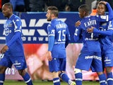 Bastia's Guinean forward Francois Kamano is congratulated by teammates after scoring a goal during the French L1 football match Bastia (SCB) vs Metz (FCM) on February 7, 2015