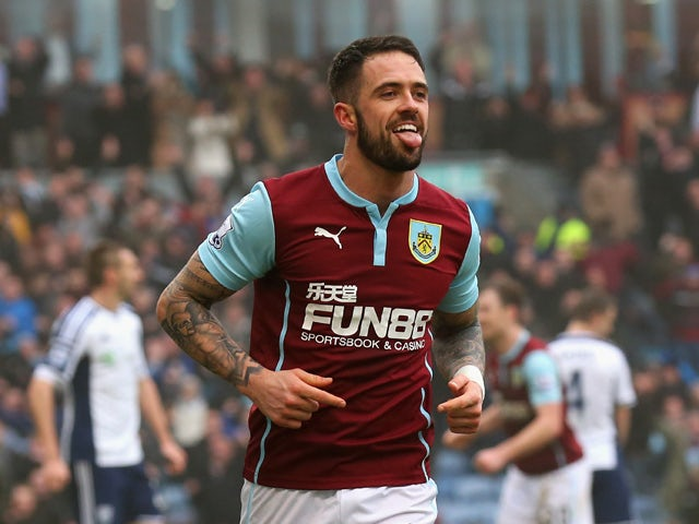 Danny Ings of Burnley celebrates scoring their second goal during the Barclays Premier League match between Burnley and West Bromwich Albion at Turf Moor on February 8, 2015