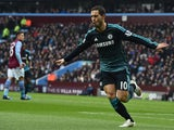 Chelsea's Belgian midfielder Eden Hazard celebrates scoring the opening goal of the English Premier League football match between Aston Villa and Chelsea at Villa Park in Birmingham, central England on February 7, 2015