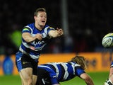 Bath scrum half Chris Cook clears his lines during the Aviva Premiership match between Gloucester Rugby and Bath Rugby at Kingsholm Stadium on December 20, 2014