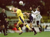 Martin Grainger of Birmingham City is challenged by Darren Anderton of Tottenham Hotspur during the Worthington Cup third round match at White Hart Lane in London on October 31, 2000