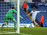 Leeds United's David Norris shoots only to have it saved by Birmingham City's Colin Doyle during the FA Cup with Budweiser Third Round match between Leeds United and Birmingham City at Elland Road Stadium on January 5, 2013