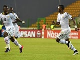 Ghana's midfielder Mubarak Wakaso celebrates after scoring a goal during the 2015 African Cup of Nations semi-final football match between Equatorial Guinea and Ghana in Malabo, on February 5, 2015