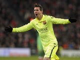 Barcelona's Argentinian forward Lionel Messi celebrates after scoring during the Spanish league football match against Athletic Club Bilbao on February 8, 2015