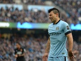 Manchester City's Argentinian striker Sergio Aguero reacts during the English Premier League football match between Manchester City and Hull City at the The Etihad Stadium in Manchester, north west England, on February 7, 2015