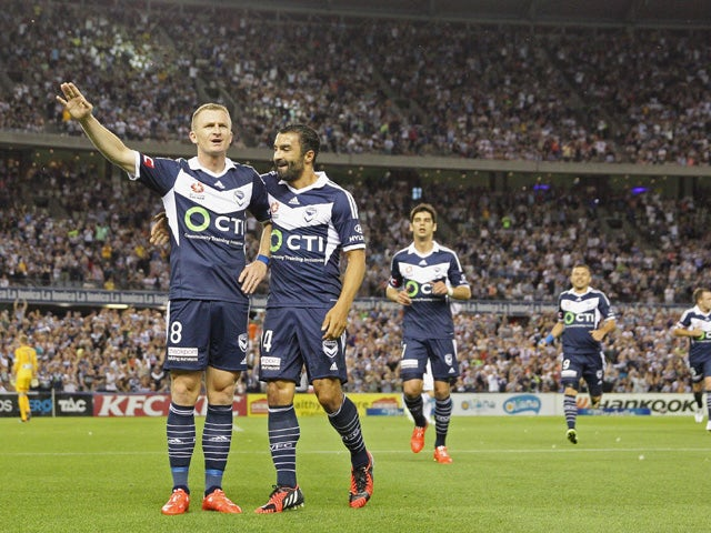 Besart Berisha of the Victory celebrates after scoring a goal during the round 16 A-League match between Melbourne Victory and Melbourne City FC at Etihad Stadium on February 7, 2015