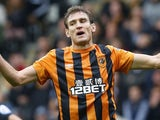 Nikica Jelavic for Hull on October 4, 2014