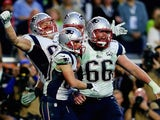 Rob Gronkowski celebrates scoring a touchdown for the New England Patriots on February 1, 2015