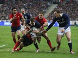 Stuart Hogg of Scotland is stopped short of the try line during the RBS Six Nations match between France and Scotland at Stade de France on February 7, 2015