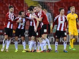 Jamie Murphy of Sheffield United celebrates scoring to make it 1-0 during the FA Cup Fourth Round match between Sheffield United and Preston North End at Bramall Lane on February 3, 2015