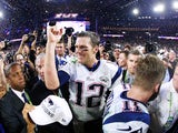 Tom Brady #12 of the New England Patriots celebrates after defeating the Seattle Seahawks 28-24 in Super Bowl XLIX at University of Phoenix Stadium on February 1, 2015