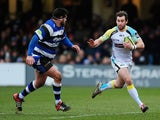 Tom Grabham of Ospreys takes on Rob Webber of Bath during the LV= Cup match between Bath Rugby and Ospreys at Recreation Ground on February 7, 2015