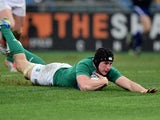Tommy O'Donnell of Ireland dives over to score his team's second try during the RBS Six Nations match between Italy and Ireland at the Stadio Olimpico on February 7, 2015