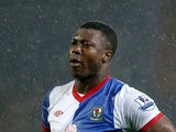 Yakubu of Blackburn Rovers looks dejected after his team was relegated at the end of the Barclays Premier League match between Blackburn Rovers and Wigan Athletic at Ewood Park on May 7, 2012