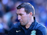 Hibernian Manager Alan Stubbs looks on during the Scottish Championship match between Heart of Midlothian F.C. and Hibernian F.C. at Tynecastle Stadium on January 3, 2015