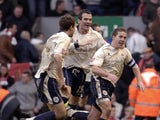 Barnsley's Brian Howard celebrates after scoring in the final minute of extra time to give his team victory over Liverpool during FA cup match at Anfield, in Liverpool, on February 16, 2008
