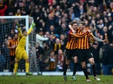 Vito Mannone of Sunderland appeals to the assistant referee as Jon Stead of Bradford celebrates scoring his team's second goal during the FA Cup Fifth Round match between Bradford City and Sunderland at Coral Windows Stadium, Valley Parade on February 15