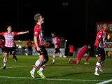 David Wheeler of Exeter City celebrates scoring his side's second goal during the Sky Bet League Two match between Exeter City and Cambridge United at St. James Park on February 10, 2015