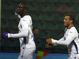 Khouma El Babacar of ACF Fiorentina celebrates his goal during the Serie A match between US Sassuolo Calcio and ACF Fiorentina on February 14, 2015