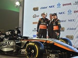Force India Formula 1 Team car during presentation at the Soumaya Museum in Mexico City, on January 21, 2015