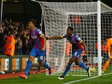 Fraizer Campbell of Crystal Palace (L) celebrates scoring their first goal during the Barclays Premier League match against Newcastle Utd on February 11, 2015