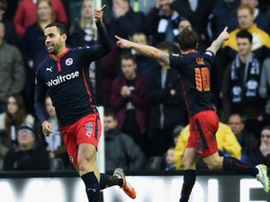 Hal Robson-Kanu of Reading (9) celebrates as he score their first goal during the FA Cup Fifth Round match between Derby County and Reading at iPro Stadium on February 14, 2015