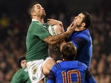 France's full back Scott Spedding battles for the ball during the Six Nations international rugby union match between Ireland and France at Aviva Stadium in Dublin, Ireland on February 14, 2015