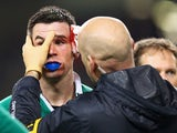 Jonathan Sexton of Ireland is given treatment for a cut to his eye during the RBS Six Nations match between Ireland and France at Aviva Stadium on February 14, 2015