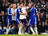 Tempers flare between James McCarthy of Everton and Branislav Ivanovic of Chelsea during the Barclays Premier League match on February 11, 2015