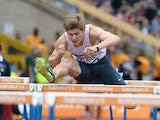 Lawrence Clarke competing in the Men's 110m hurdle heats during the Sainsbury's British Championships Birmingham: Day Three on June 29, 2014