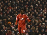 Liverpool's Italian striker Mario Balotelli gives a thumbs up after scoring Liverpool's third goal during the English Premier League football match between Liverpool and Tottenham Hotspur at the Anfield stadium in Liverpool, northwest England, on February