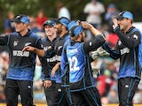 Dan Vettori of New Zealand celebrates after taking a catch during the 2015 ICC Cricket World Cup match between Sri Lanka and New Zealand at Hagley Oval on February 14, 2015