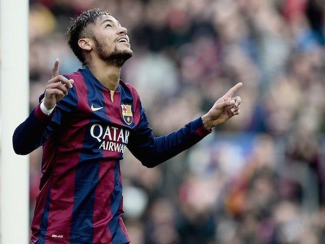 Neymar celebrates scoring for Barcelona on February 15, 2015