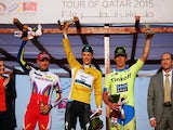 Alexander Kristoff (3rd) of Norway and Team Katusha, Niki Terpstra (1st) of The Netherlands and Etixx - Quick-Step and Maciej Bodnar (2nd) of Poland and Tinkoff-Saxo after stage six of the 2015 Tour of Qatar, a 113.5km road stage from Sealine Beach Resort