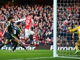 Olivier Giroud scores Arsenal's second goal on February 15, 2015
