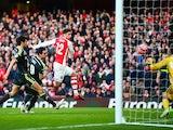 Olivier Giroud scores Arsenal's second goal on February 15, 2015