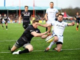 Chris Ashton of Saracens dives in to score a try during the Aviva Premiership match between Saracens and Bath Rugby at Allianz Park on February 15, 2015