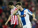 Victor Sanchez of RCD Espanyol celebrates after scoring during the Copa del Rey Semi-Final first leg match against Athletic Club on February 11, 2015