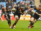 Nathan Hughes of Wasps charges forward during the Aviva Premiership match between Wasps and Harlequins at the Ricoh Arena on February 15, 2015
