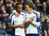 Saido Berahino (18) and Craig Gardner of West Bromwich Albion celebrate during the FA Cup Fifth Round match between West Bromwich Albion and West Ham United at The Hawthorns on February 14, 2015