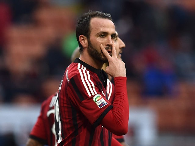 Giampaolo Pazzini of AC Milan celebrates a goal during the Serie A match between AC Milan and AC Cesena at Stadio Giuseppe Meazza on February 22, 2015