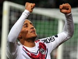 Bordeaux's French Tunisian midfielder Wahbi Khazri jubilates after scoring a penalty during the French L1 football match between Rennes (Stade Rennais FC) and Bordeaux (FCGB) on February 21, 2015