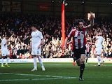 Jonathan Douglas of Brentford celebrates scoring during the Sky Bet Championship match between Brentford and AFC Bournemouth at Griffin Park on February 21, 2015