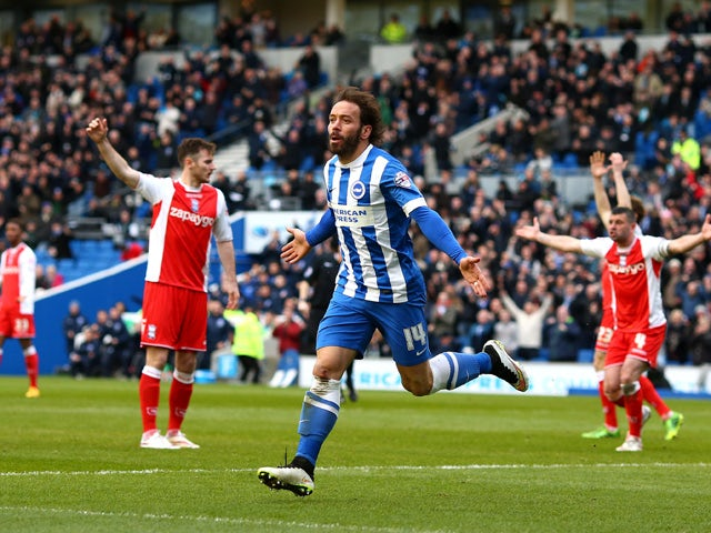 Brighton's Inigo Calderon celebrates after he scores the teams second goal of the game during the Sky Bet Championship match between Brighton & Hove Albion and Birmingham City at The Amex Stadium on February 21, 2015