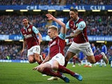 Ben Mee of Burnley celebrates after scoring a goal to level the scores at 1-1 during the Barclays Premier League match between Chelsea and Burnley at Stamford Bridge on February 21, 2015