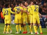 An assortment of Chelsea players celebrate Branislav Ivanovic's opener against PSG on February 17, 2015